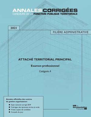 Attaché territorial principal 2021 : examen catégorie A