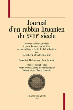 Journal d'un rabbin lituanien du XVIIIe siècle