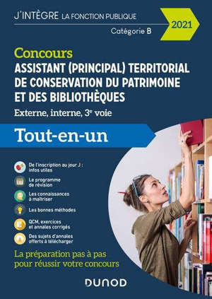 Concours assistant (principal) territorial de conservation du patrimoine et des bibliothèques : externe, interne, 3e voie, catégorie B : tout-en-un, 2021