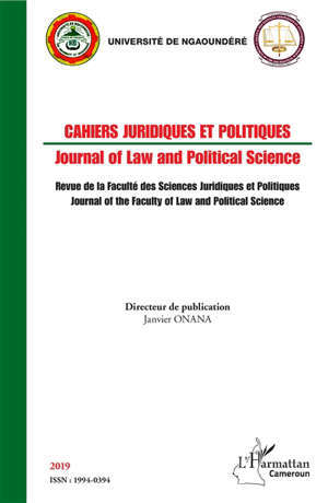 Cahiers juridiques et politiques = Journal of law and political science. n° 2019