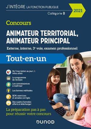 Concours animateur territorial, animateur principal : externe, interne, 3e voie, examen professionnel : catégorie B, 2021
