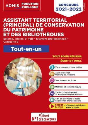 Assistant territorial (principal) de conservation du patrimoine et des bibliothèques : tout-en-un concours 2020-2021 : externe, interne, 3e voie, examens professionnels, catégorie B