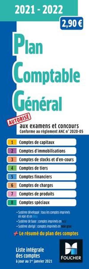 Plan comptable général 2021-2022 : autorisé aux examens et concours
