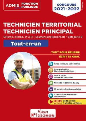 Technicien territorial, technicien principal : externe, interne, 3e voie, examens professionnels, catégorie B : tout-en-un, concours 2021-2022