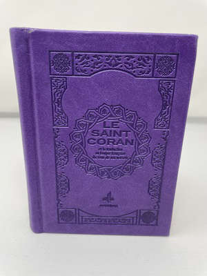 Le saint Coran bilingue : couverture daim violet