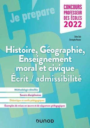 Histoire, géographie, enseignement moral et civique : écrit-admissibilité, concours professeur des écoles 2022