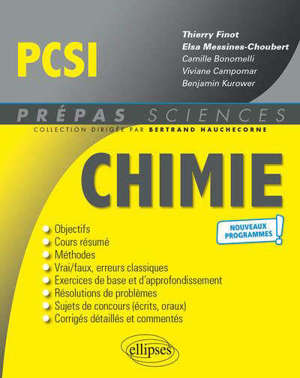Chimie PCSI : nouveaux programmes