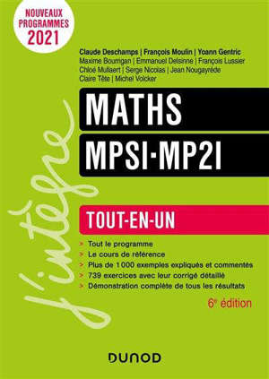 Maths MPSI, MP2I : tout-en-un : nouveaux programmes 2021