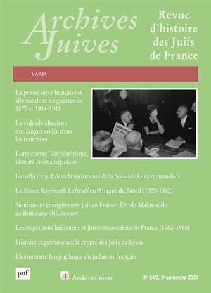 Archives juives, n° 54-2. Varia