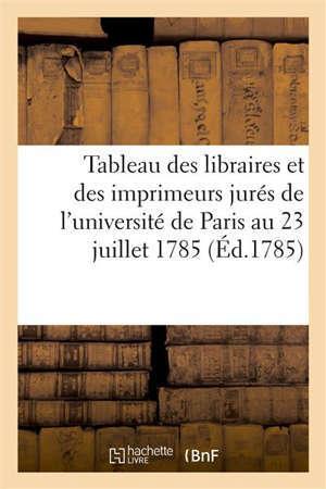 Tableau des libraires et des imprimeurs jurés de l'université de Paris au 23 juillet 1785