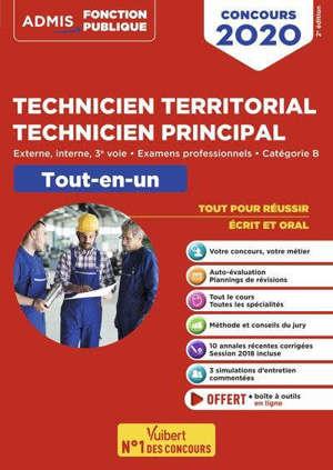 Technicien territorial, technicien principal : externe, interne, 3e voie, examens professionnels, catégorie B : tout-en-un, concours 2020