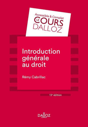 Introduction générale au droit : 2019