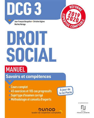 DCG 3, droit social : manuel, savoirs et compétences : 2019-2020