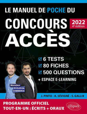 Le manuel de poche du concours Accès 2022 : 6 tests, 80 fiches, 500 questions + espace e-learning