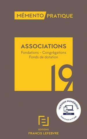 Associations : fondations, congrégations, fonds de dotation : 2019
