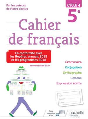 Cahier de français 5e, cycle 4