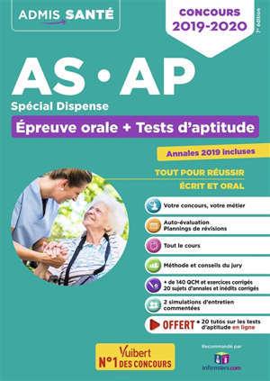 AS, AP, spécial dispense : épreuve orale + tests d'aptitude : concours 2019-2020