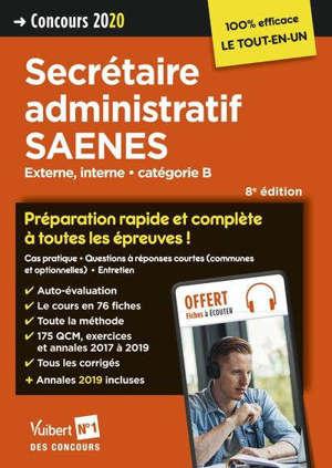 Secrétaire administratif SAENES, externe, interne : catégorie B, concours 2020