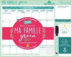 Bloc Mémoniak ma famille green : de janvier à décembre 2020 : une grande page par mois à aimanter sur le frigo !