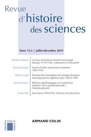 Revue d'histoire des sciences. n° 72-2