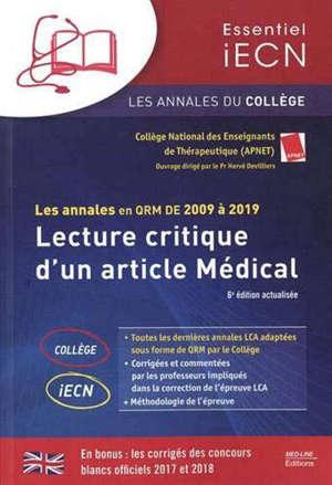 Lecture critique d'un article médical : les annales en QRM de 2009 à 2019